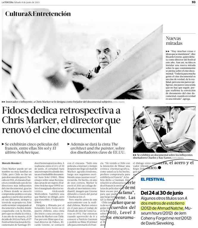 La Tercera (Chile). 8 de junio, 2013